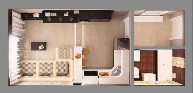 Студия 24 кв.м дизайн проект
